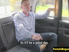 Female taxi driver doggystyled after blowjob