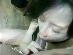 Chinese wife sucks fat hairy cock and gets fucked