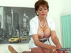 Unfaithful british mature lady sonia displays her massive hooters