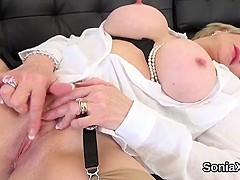 Cheating british milf lady sonia shows off her large breasts