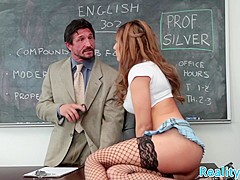 Busty schoolgirl pounded in stockings