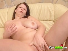 Busty brunette gets banged by amputee