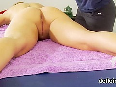 Fervid girl stretches soft twat and gets devirginized