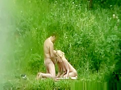 Blowjob and doggy fuck in nature