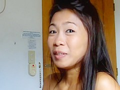 Asian chick gives BJ and gets facial
