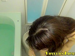 Asian teen solo showers