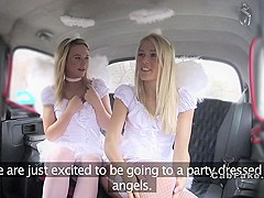 Lesbian angels had threesome in taxi