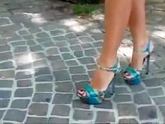 Bare feet in open high heels 3
