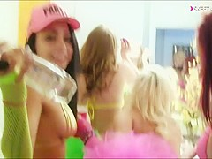Hot girls having a party and lesbian sex