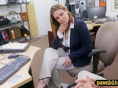 Foxy business woman nailed by pawn man