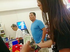 Asian college girl shopping in grey spandex