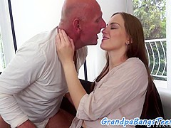 Roundass eurobabe gets fucked by grandpa