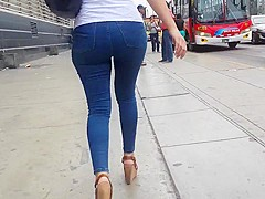 Sexy college girl in jeans blue - part 1