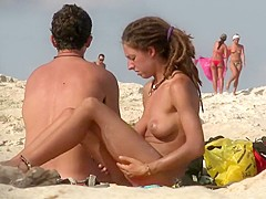 Naked girl on the nudist beach