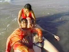 Two Indian Call Girls Enjoying White Meat At Beach In India Singing Hindi Song Too