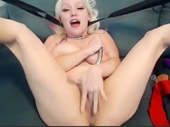 Busty blonde cums using multiple toys