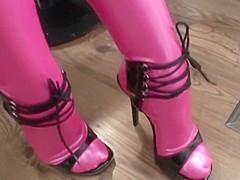 Pink latex catsuit vaginal condom fuck