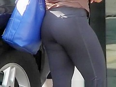 Nice ass in dark blue sports pants