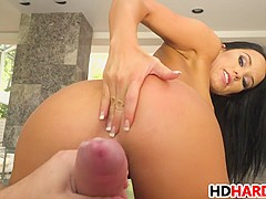 Megan Rain sucks a big cock