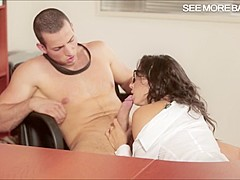 Tight office honey Alexa Tomas pussy pounded on the desk