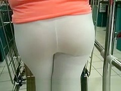 Beautifull ass in white see through leggins