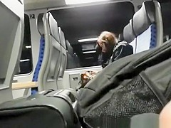 Dude takes his cock out in train and plays