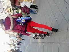 Hot ass chick in red leggings