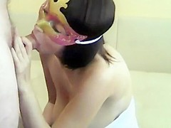 Masked lady likes to suck cock