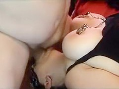 bitch with large puffy tits mouthfucked in blindfolds