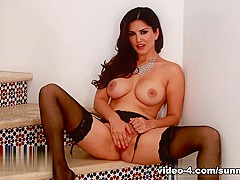 Hottest pornstar Sunny Leone in Incredible Masturbation, Big Tits porn movie
