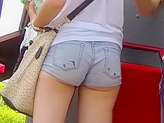 Nice ass and butt cheeks in tight shorts
