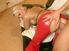 Anal slut and mud pie in red Miss Sixty pants