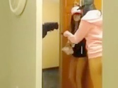 2 girls having fun and flashing the delivery guy