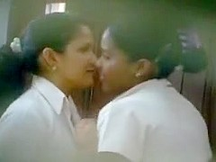 School girls spied as they kiss
