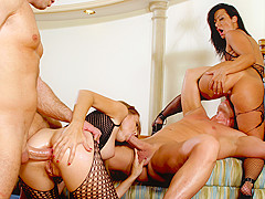 Sandra Romain & Evan Stone & Angelica Lane in Sandra Romain's Milf Pussy & Ass Takes Two Cocks At On