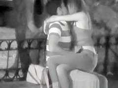 Teen couple spied in the night fucking