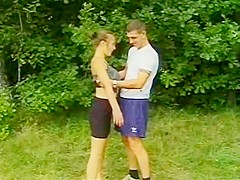 Vintage busty babe fucks in the woods