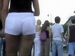 Hypnotic ass in white shorts on a sexy girl
