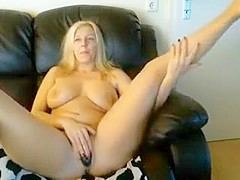 Voluptuous blonde bombshell wants to try playing with her o