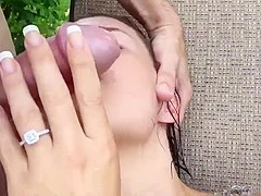 Small Young Tight Pussy Fucks Huge Cock Around Tropical Pool
