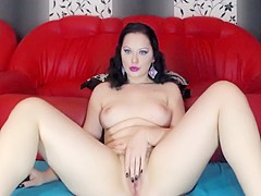 Beautiful Brunette With Amazing Green Eyes Masturbate And Hot Suck 2
