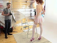 MY NAUGHTY ALBUM - Sexy redhead Slovak model Anny Swix fucks photographer Lutro on set