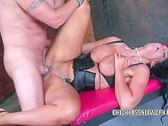 Buxom brunette Angela Aspen gets pounded with a big cock