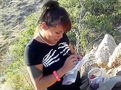 Hiking girl accidentally shows her thong