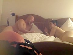 Chubby couple smoking and fucking