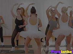 Pussylicked ballet hotties dicksucking in trio