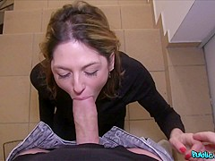 Jessica Red & Steve in Dildo and Cock Squeezed into Pussy - PublicAgent