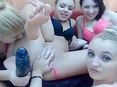 Horny lesbian foursome action