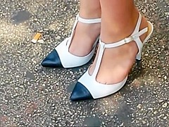 Candid High Heels At Bus Stop