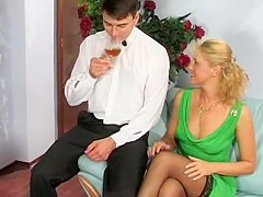 Mature woman and waiter